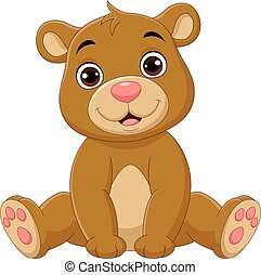 Cartoon cute baby bear sitting