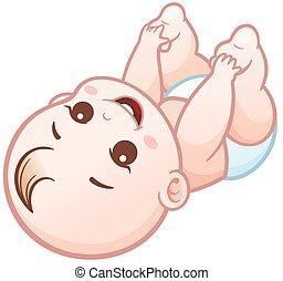 Baby - Vector Illustration of Cartoon Cute Baby