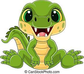 Cartoon cute baby crocodile sitting