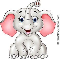 Cartoon cute baby elephant isolated