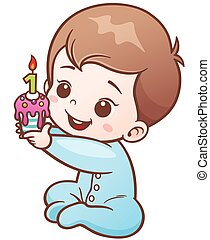 Baby - Vector Illustration of Cartoon Cute Baby holding...