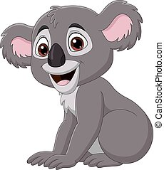 Cartoon cute baby koala sitting