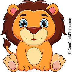 cartoon cute baby lion on white background