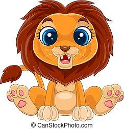 Cartoon cute baby lion sitting