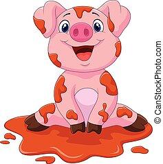 Cartoon cute baby pig - Vector illustration of Cartoon cute...