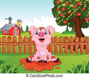 Cartoon cute baby pig in the garden - Vector illustration of...