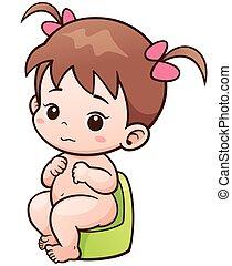 Baby - Vector Illustration of Cartoon Cute Baby sitting on ...