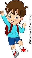 Cartoon cute boy with backpack