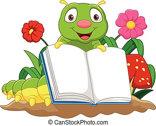 Vector illustration of Cartoon cute caterpillar holding book