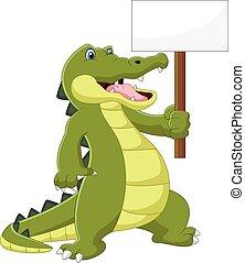 cartoon cute crocodile holding blank sign on white background