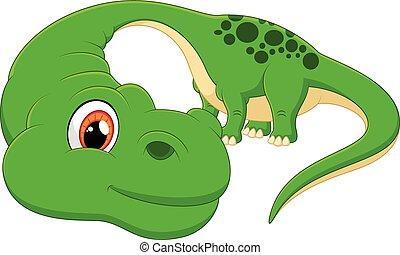 Cartoon cute Diplodocus