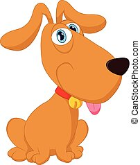 Cartoon cute dog sitting