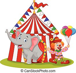 Cartoon cute elephant and clown wit