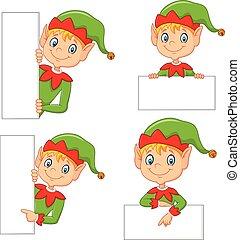 Cartoon cute elf with blank