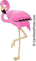 cartoon cute flamingo bird