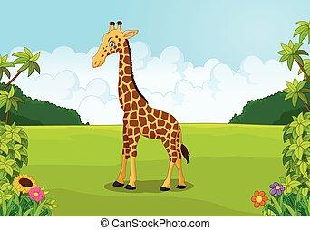 Cartoon cute giraffe posing