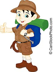 cartoon cute hiker boy