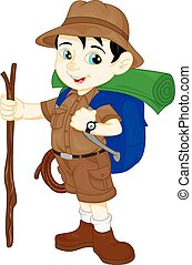 cartoon cute hiker boy thumb up