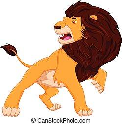 cartoon cute lion posing on white background