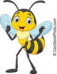 Cartoon cute little bee on white background
