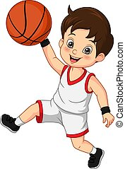 Cartoon cute little boy playing basketball