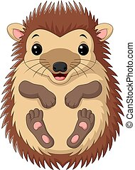 Cartoon cute little hedgehog on white background