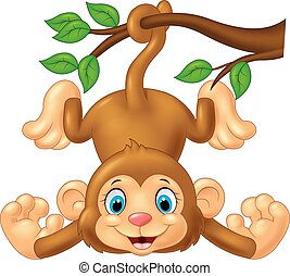 Cartoon cute monkey hanging on tree