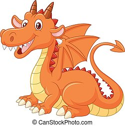 Cartoon cute orange dragon isolated