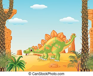 Cartoon cute stegosaurus posing