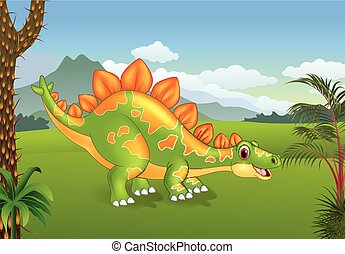 Cartoon cute stegosaurus posing with the prehistoric background