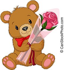 Cartoon cute teddy bear holding a flower