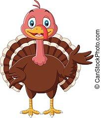 Cartoon cute turkey bird presenting