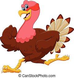 cartoon cute turkey bird running