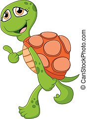Cartoon cute turtle giving thumb up