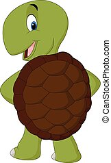 Cartoon cute turtle posing