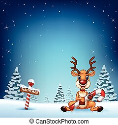 Cartoon deer holding Christmas