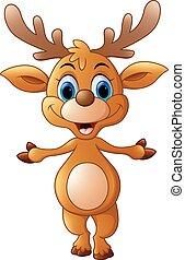cartoon deer presenting