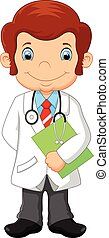 Cartoon doctor holding blank sign