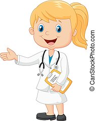 Cartoon doctor is explaining - Vector illustration of...