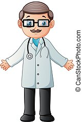 Cartoon doctor wearing lab white coat with stethoscope