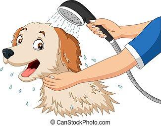 Cartoon dog bathing with shower