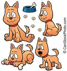 Dog - Vector illustration of Cartoon Dog Character