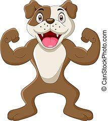 Cartoon Dog Flexing its Muscles
