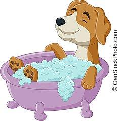 Cartoon dog having a bath in the bathtub - Vector ...