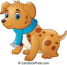 Cartoon dog in a scarf