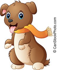 Cartoon dog in a scarf with tongue out
