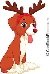 Cartoon Dog in reindeer costume