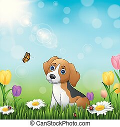 Cartoon dog in the grass background