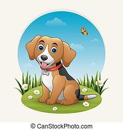 Cartoon dog on a sitting