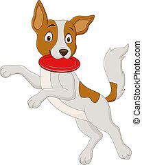 Vector illustration of Cartoon dog playing flying disc